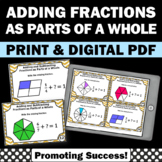 Adding Fractions Task Cards, Fraction Models as Parts of a Whole