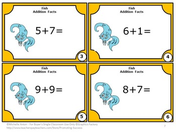 Kindergarten Addition Facts Task Cards, Special Education Math Practice, Fish