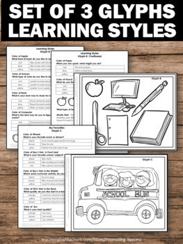Glyphs All About Me Activities, Getting to Know You, Learning Styles Inventory