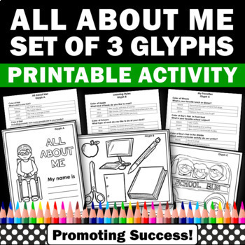 all about me glyphs worksheets