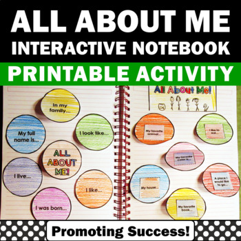 Back to School All About Me Interactive Notebook Getting t