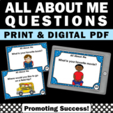 Back to School All About Me Activities, Getting to Know You Questions Task Cards