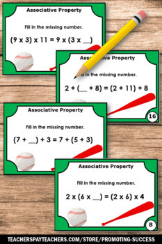 Associative Property of Addition Task Cards, 1st Grade Math Review Games SCOOT