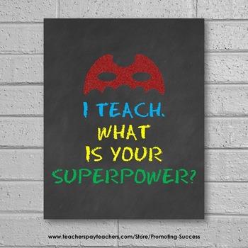 Superpower Sign, Superhero Theme, End of the Year Teacher Appreciation Gift Idea