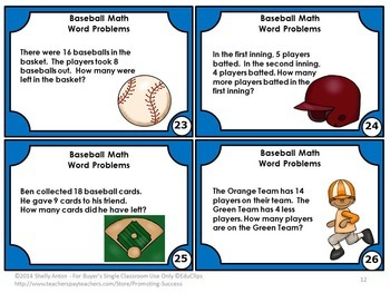 Addition and Subtraction Word Problems, 1st Grade Word Problems Game BASEBALL