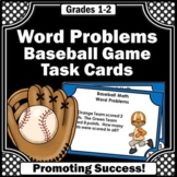 1st Grade Addition and Subtraction Word Problems Task Cards, Baseball Theme