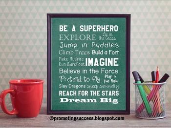Be a Superhero Green Classroom Decor Inspirational Motivational Quote Poster