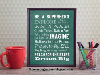 Green Be a Superhero Classroom Theme Motivational Quotes Poster