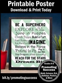 Superhero Theme Poster Chevron Classroom Decor Inspirational Quotes for Kids