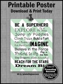 Be a Superhero Theme Classroom Poster, Motivational Poster Superheroes