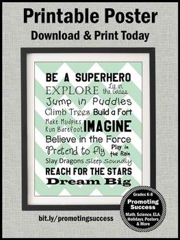 Be a Superhero Classroom Theme, Mint Green Chevron Decor 8x10 16x20