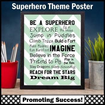 Superhero Theme Poster Chevron Classroom Decor Inspiration