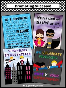 Superhero Classroom Theme, Inspirational Quotes, Superheroes Posters Printables