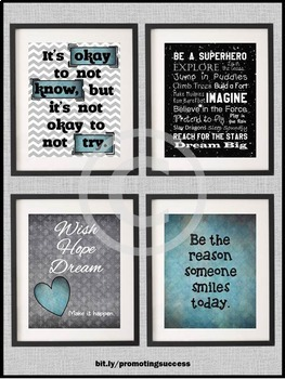 Superhero Classroom Theme, Black and Teal Decor, Inspirational Quote Posters