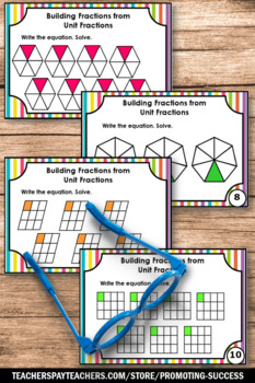 Unit Fraction Games, 4th Grade Math Centers SCOOT, Fractions Task Cards
