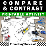 Compare and Contrast Graphic Organizer, Venn Diagram Writing Worksheets