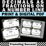 Decimals and Fractions on a Number Line 4th Grade Math Centers Fraction Games