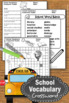Back to School Vocabulary Words Crossword Puzzle, Speech Therapy Vocabulary