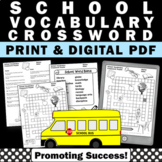 Back to School Crossword Puzzle for Beginning of the Year Vocabulary Activities