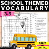 Back to School Vocabulary Activity Crossword Worksheet 3rd 4th 5th Grade Digital