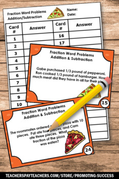 Adding And Subtracting Fraction Word Problems Pizza Fractions Task