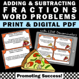 Adding and Subtracting Fraction Word Problems Task Cards, Pizza Fractions 4th