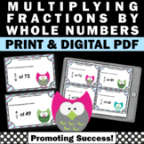 Multiplying Fractions by Whole Numbers Task Cards, 4th Grade Math Review