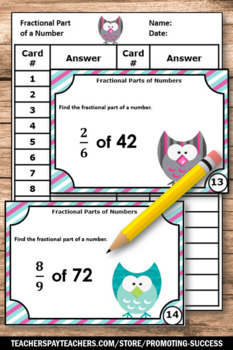 Multiplying Fractions by Whole Numbers Game SCOOT with Fraction Task Cards