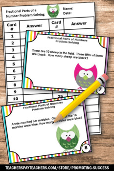 Fraction Word Problems Task Cards, Fractional Parts of a Number