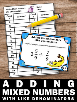 Adding Mixed Numbers with LIKE Denominators 4th Grade Math Games SCOOT