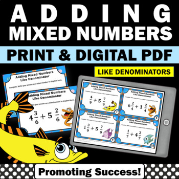 Adding Mixed Numbers with Like Denominators, Fraction Task Cards 4th Grade