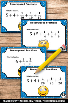 Decomposing Fractions Task Cards, 4th Grade Math Review Games SCOOT