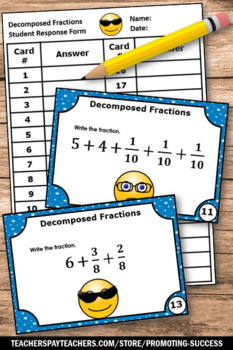 Decomposing Fractions Task Cards, 4th Grade Math Centers, Fraction Games SCOOT