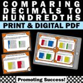Comparing Decimals Task Cards, 4th Grade Math Review Games (Hundredths)