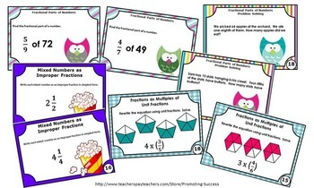 Fraction Task Cards 4th Grade Common Core Math BUNDLE Practice ALL STANDARDS