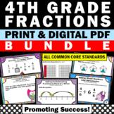 Fraction BUNDLE 4th Grade Common Core Math Review Test Prep