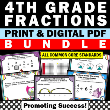 Fraction Task Cards BUNDLE 4th Grade Math Review Centers SCOOT