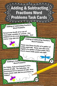 4.NF.B.3/ Adding and Subtracting Fractions Word Problems (like ...