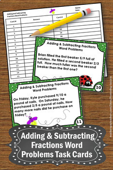 Adding and Subtracting Fractions with Unlike Denominators Fraction Word Problems