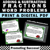 Adding and Subtracting Fractions Word Problems Task Cards
