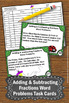 Adding and Subtracting Fractions Word Problems Task Cards & Games