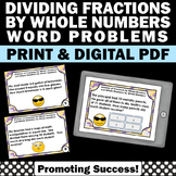 Dividing Fractions and Whole Numbers Word Problems 5th Grade Fraction Task Cards