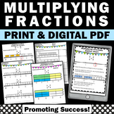 Multiplying Fractions Worksheets with Visual Models and Number Lines 5th Grade