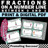 Fractions on a Number Line Task Cards, Fraction Games, 3rd Grade Math Review