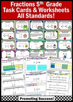 5th Grade Fractions Bundle, Common Core Math ALL STANDARDS, Fraction Task Cards