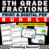 Fraction Bundle 5th Grade Common Core Math Test Prep ALL STANDARDS