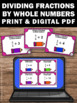 Dividing Fractions by Whole Numbers Math Task Cards