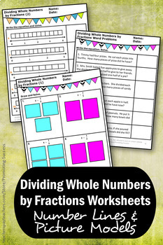 Dividing Whole Numbers by Fractions on a Number Line & Pictures Worksheets