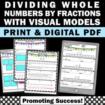 Dividing Whole Numbers by Fractions on a Number Line Worksheets