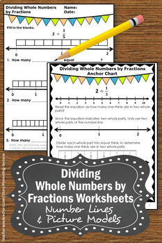 Dividing Whole Numbers by Fractions on a Number Line Worksheets | TpT